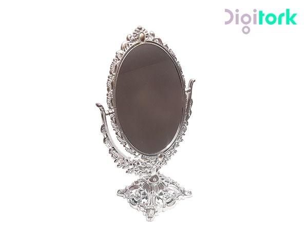 آینه آرایشی رومیزی نقره ای طرح منبت