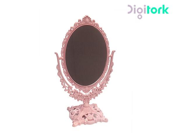 آینه آرایشی رومیزی طرح منبت صورتی